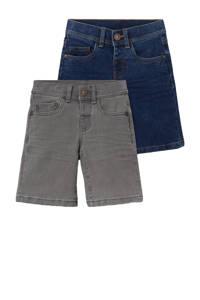 C&A jeans bermuda - set van 2 grijs/blauw, Donkerblauw