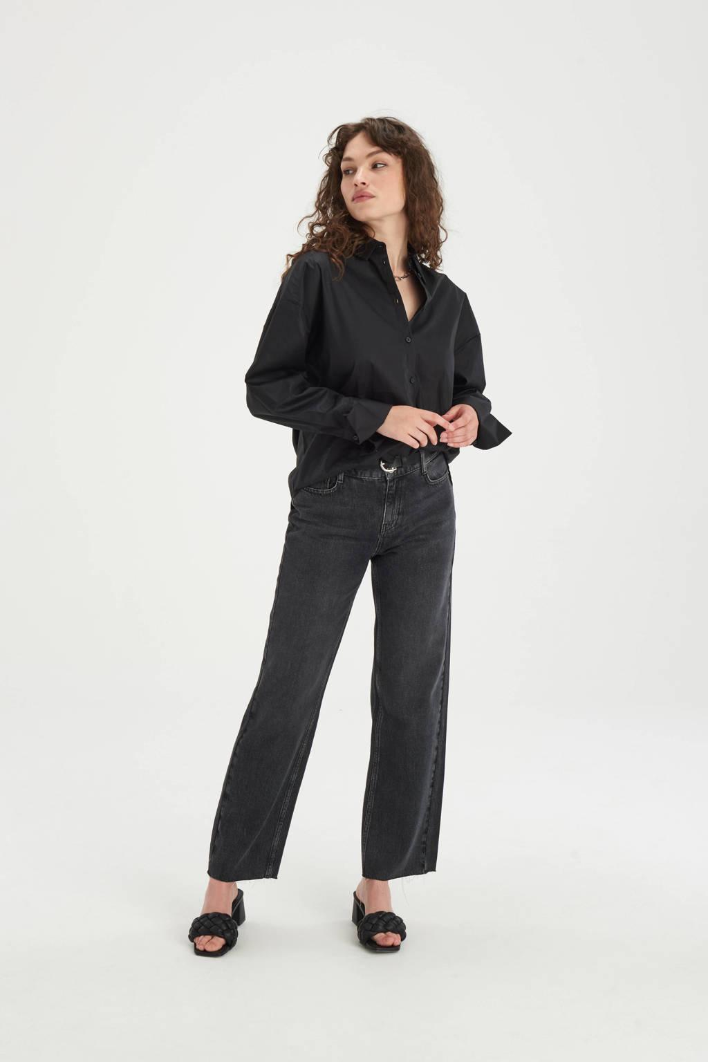Shoeby Eksept high waist straight fit jeans Lieke black, Black