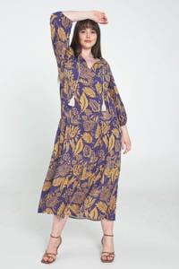 PROMISS trapeze jurk met bladprint en franjes paars/okergeel, Paars/okergeel