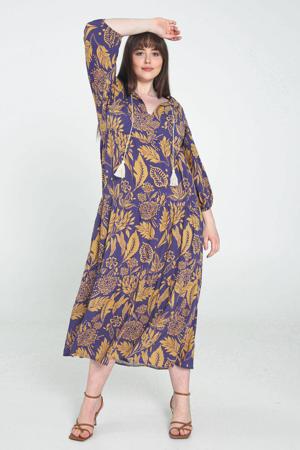 trapeze jurk met bladprint en franjes paars/okergeel