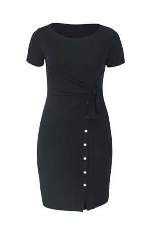 jurk met knoopdetail en split marine