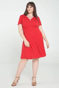 PROMISS A-lijn jurk met volant rood, Rood