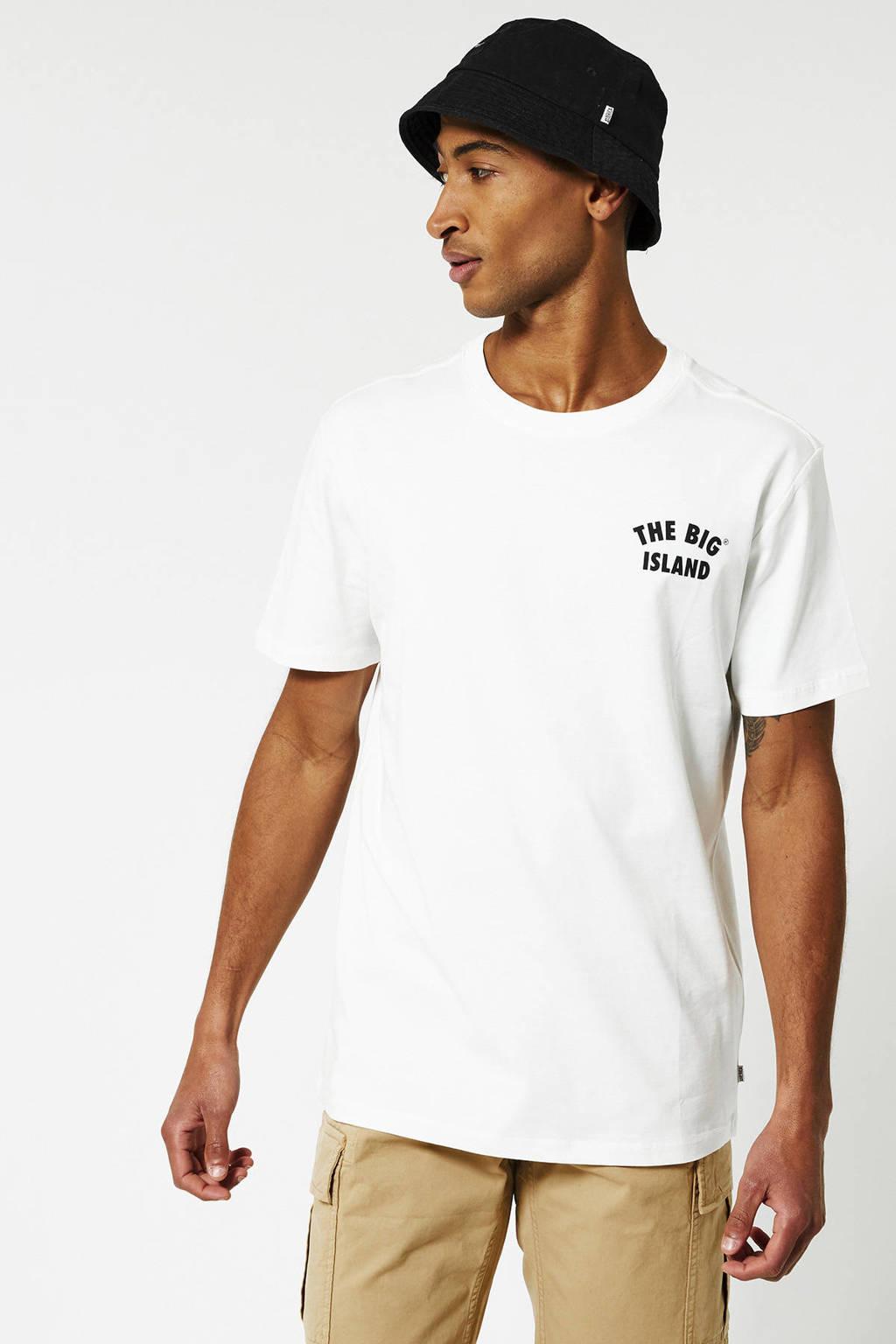 America Today T-shirt Elias Hawaii van biologisch katoen ecru, Ecru