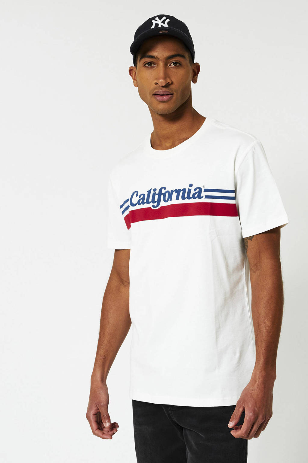 America Today T-shirt Elias Cali van biologisch katoen ecru, Ecru