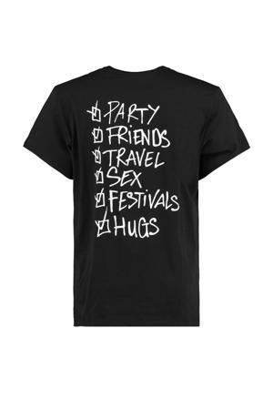 T-shirt Eddy Checklist met tekst zwart