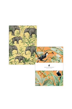 A5 schriften - set van 2 Flirting Toucans & Oscar the Elephant