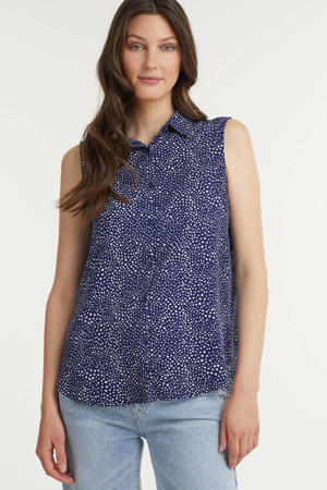 blouse Ciara met all over print donkerblauw