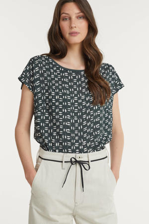 T-shirt Lissy met all over print grijsgroen