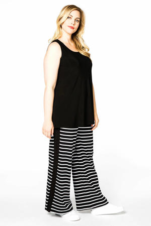 gestreepte high waist loose fit broek BRETON met zijstreep zwart/wit