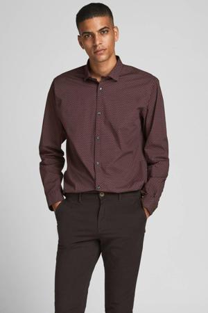 slim fit overhemd Blablackpool met all over print paars/bruin
