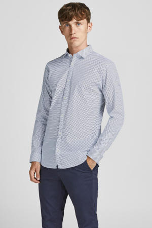 slim fit overhemd Blablackpool met all over print wit