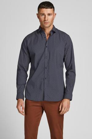 slim fit overhemd Blablackpool met all over print donkerblauw