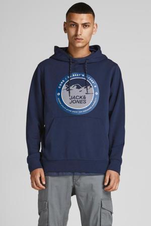hoodie JCOBILO  met logo donkerblauw