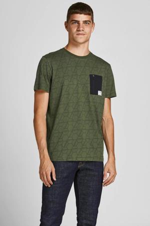 T-shirt Raider met all over print groen