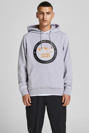 hoodie JCOBILO  met logo grijs melange