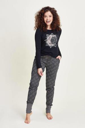 pyjamabroek met all over print zwart/roze