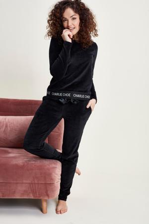 velours loungebroek zwart
