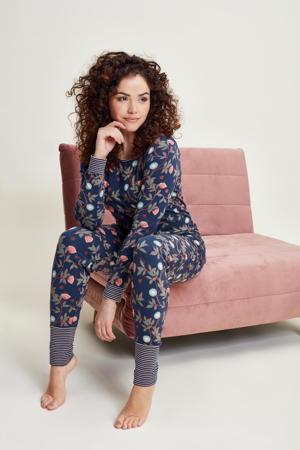 gebloemde pyjamabroek donkerblauw/roze