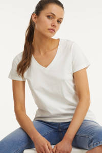 anytime T-shirt v-hals wit, Wit