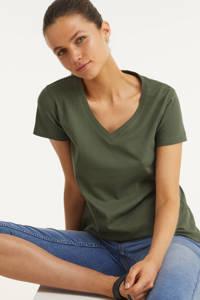 anytime T-Shirt v-hals kaki, Kaki