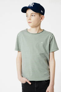 America Today Junior gestreept T-shirt Took van biologisch katoen groen/wit, Groen/wit