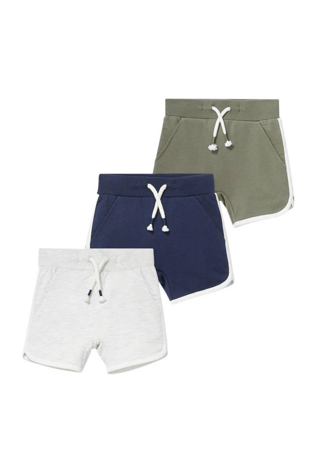 C&A Baby Club sweatshort - set van 3 ecru/donkerblauw/groen, Ecru/donkerblauw/groen