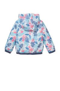 C&A Palomino  zomerjas met bladprint blauw/wit/roze, Blauw/wit/roze