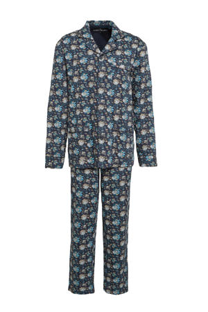 gebloemde pyjama donkerblauw