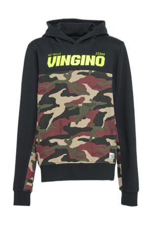 hoodie Nasdo met camouflageprint zwart/multicolor