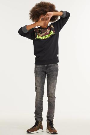 sweater Nibro met camouflageprint zwart/multicolor