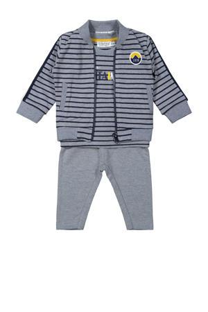 3-delige newborn baby set grijs melange/donkerblauw