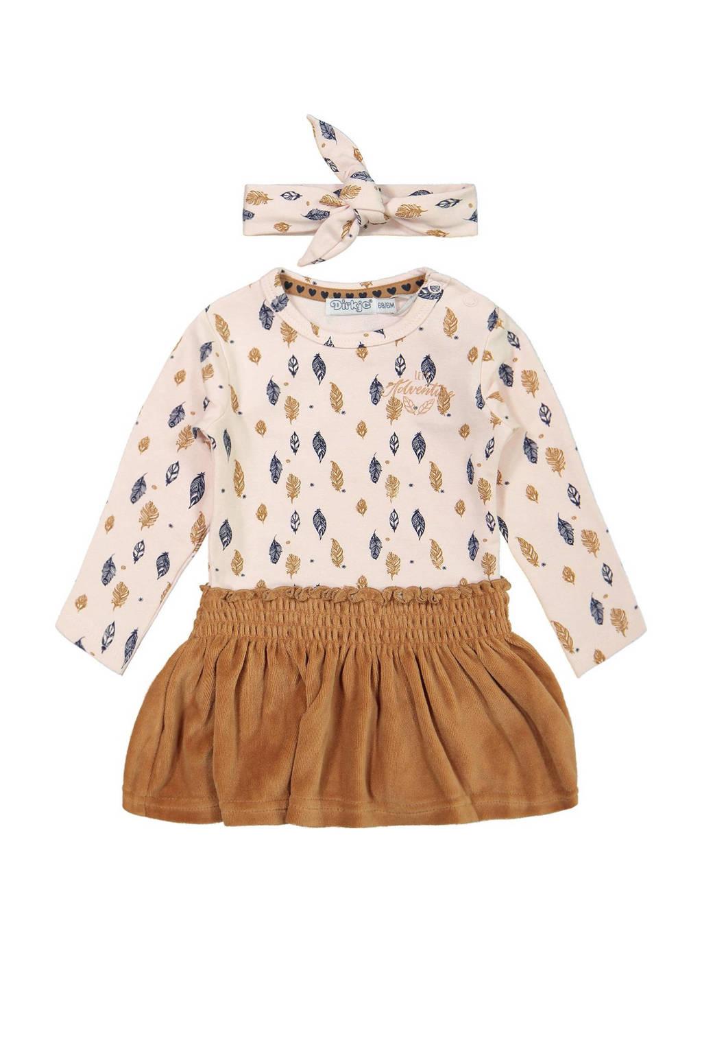 Dirkje jurk met bijpassende haarband lichtroze/camel, Lichtroze/camel