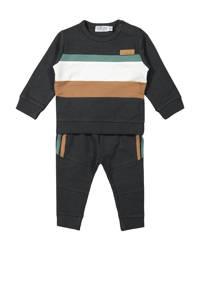 Dirkje sweater + broek antraciet/bruin/wit, Antraciet