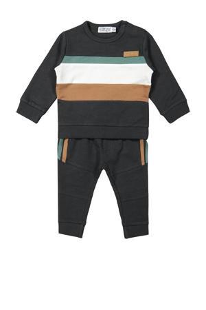 sweater + broek antraciet/bruin/wit