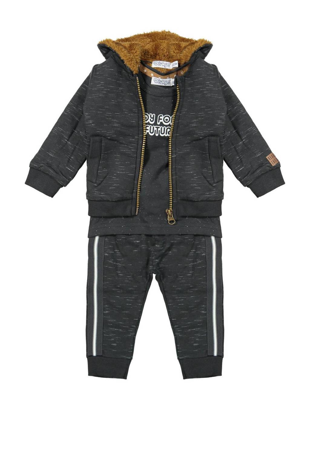 Dirkje newborn baby vest + T-shirt + broek antraciet/wit/bruin, Antraciet