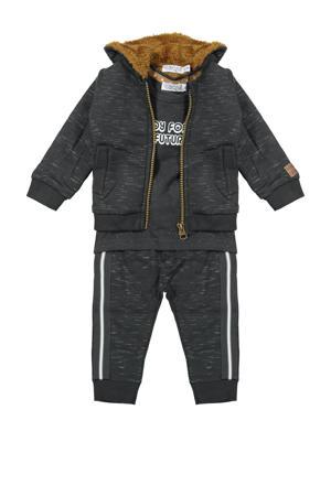 newborn baby vest + T-shirt + broek antraciet/wit/bruin