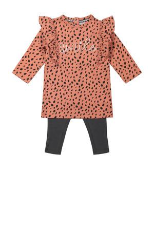 newborn baby jurk + legging oudroze/antraciet
