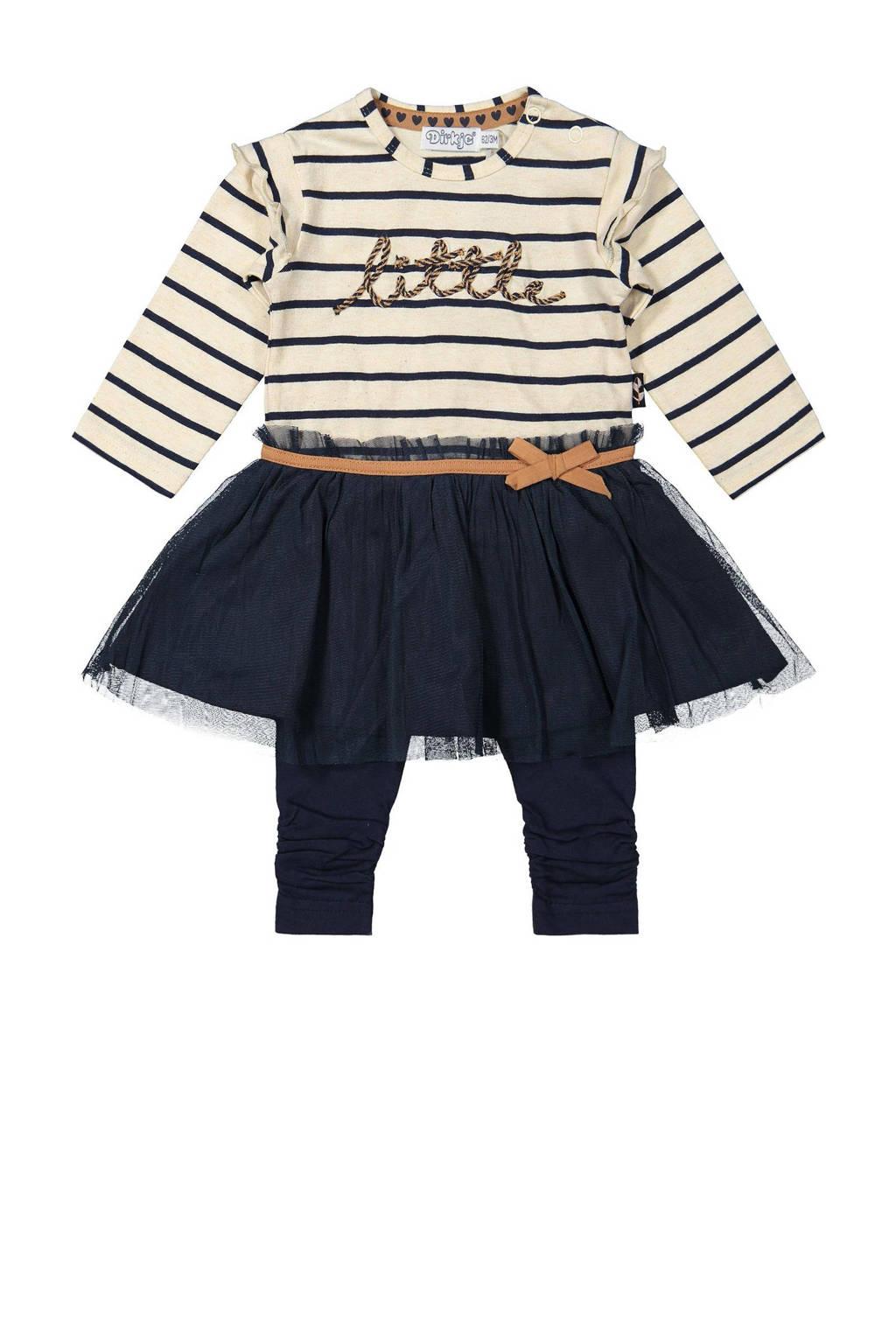 Dirkje newborn baby jurk + legging met biologisch katoen donkerblauw/beige melée, Donkerblauw/beige melée