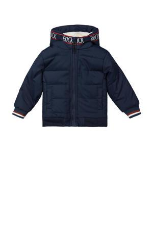 gewatteerde winterjas met contrastbies donkerblauw