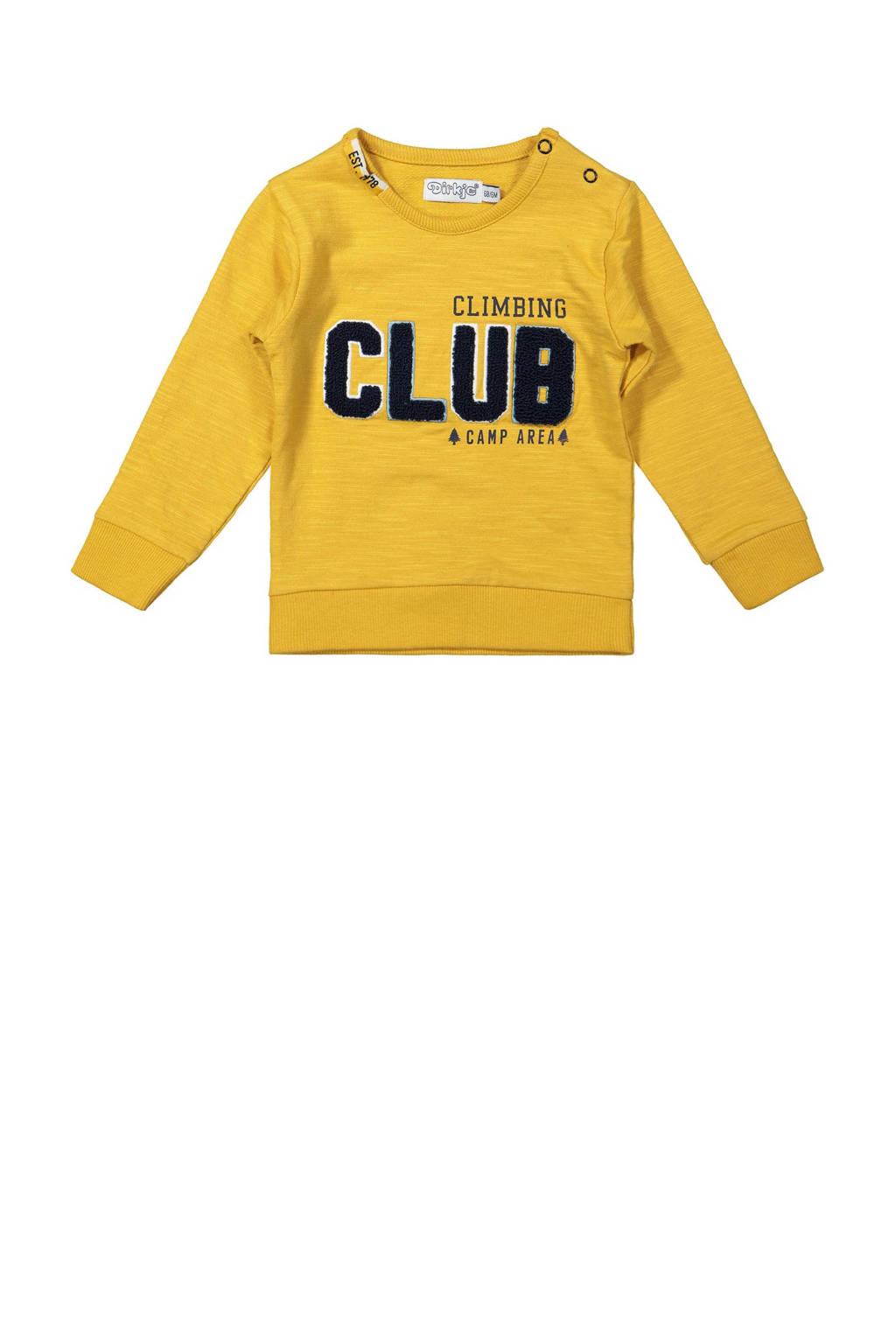 Dirkje sweater met tekst okergeel, Okergeel