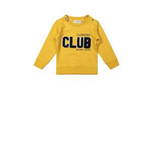 sweater met tekst okergeel
