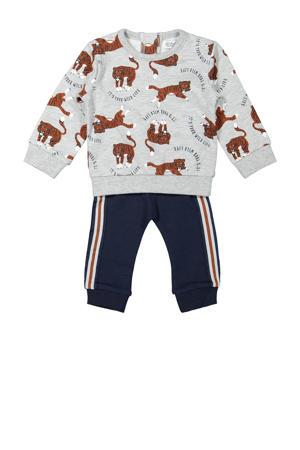sweater + broek grijs melange/donkerblauw