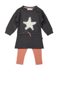 Dirkje jurk + legging antraciet, Antraciet/wit