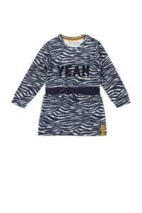 Dirkje jurk met all over print donkerblauw/wit, Donkerblauw/wit