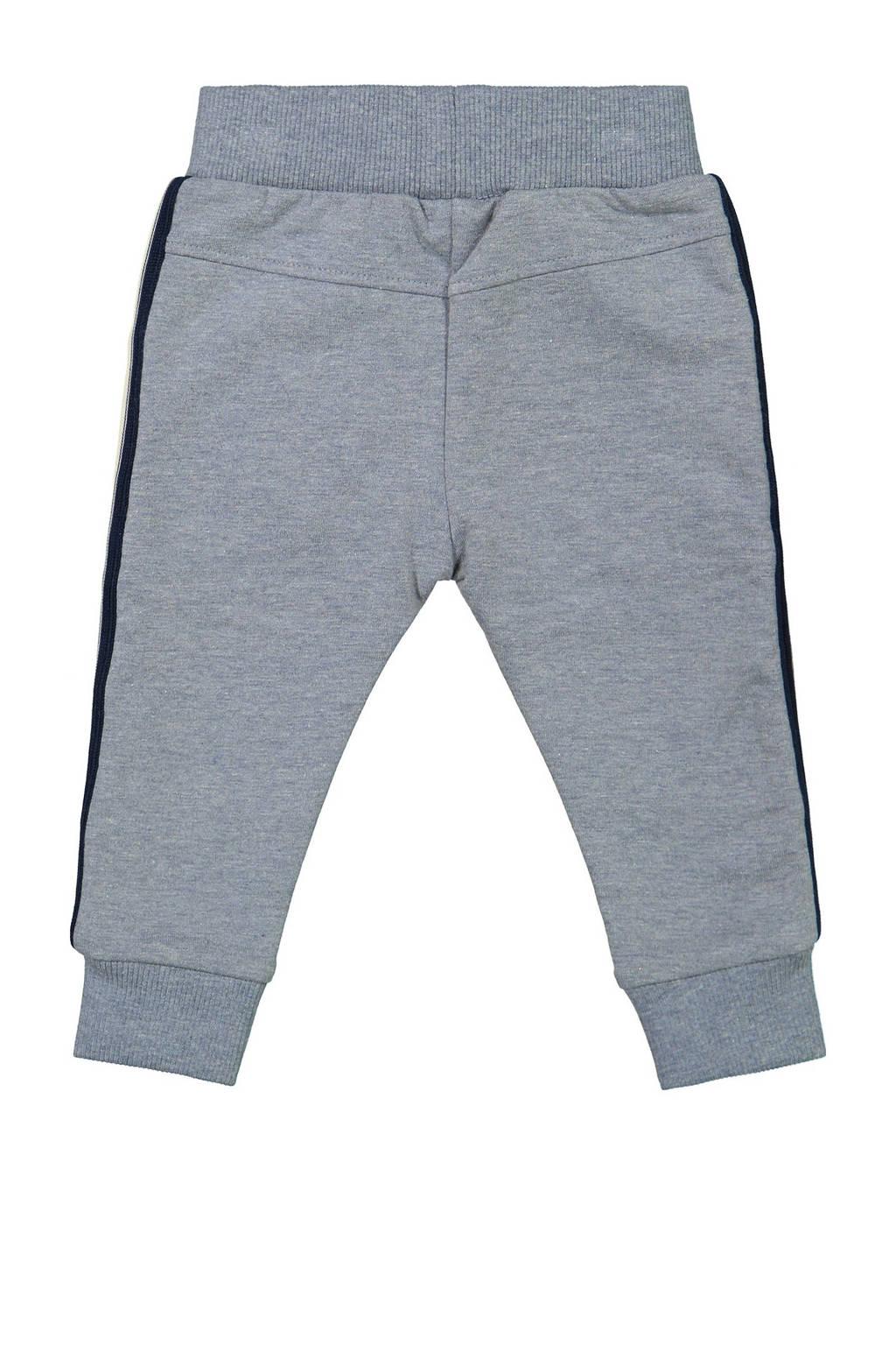 Dirkje joggingbroek met zijstreep grijs melange/donkerblauw/ecru, Grijs melange/donkerblauw/ecru