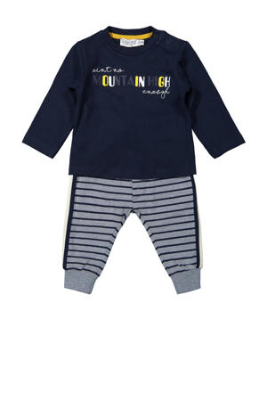 newborn baby longsleeve + broek donkerblauw/grijs melange