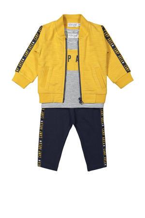 newborn baby vest + T-shirt + donkerblauw/geel