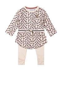 Dirkje newborn baby jurk + legging lichtroze/bruin/zwart, Lichtroze