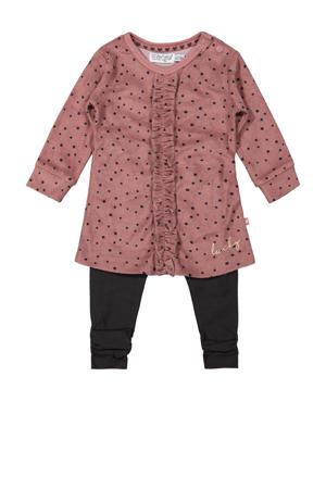 newborn baby jurk + legging roze/antraciet