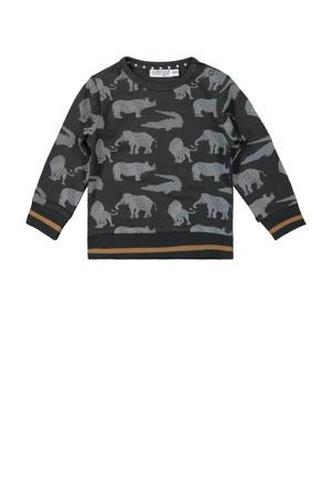 sweater met contrastbies antraciet/wit